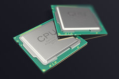 CPU-chip för illustration 3d, enhet för central processor på svart bakgrund royaltyfri illustrationer