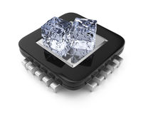 CPU chip and ice cubes. Processor cooling concept. 3d rendering illustration Royalty Free Stock Images