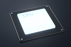 Cpu chip or microchip. 3d rendering cpu chip or microchip on black background Royalty Free Stock Photo