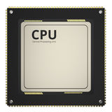 Cpu chip or microchip. 3d rendering cpu chip or microchip isolated on white Stock Image