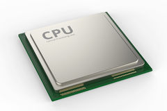 Cpu chip or microchip. 3d rendering cpu chip or microchip on white background Royalty Free Stock Images