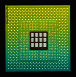 CPU Chip / processor. Multicolored microprocessor closeup on black Stock Photography
