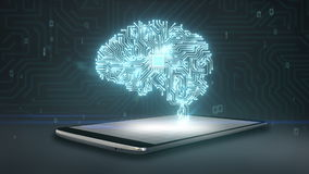 CPU chip shape of brain on smart phone, mobile, smart pad, grow artificial intelligence