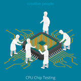 CPU chip socket testing repair service. Serviceman Royalty Free Stock Photography