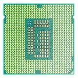 CPU Chip, Zentraleinheitseinheit, Draufsicht über weißen Hintergrund Abbildung 3D Lizenzfreie Stockfotografie