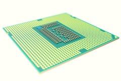 CPU Chip, Zentraleinheitseinheit, lokalisiert auf Weiß mit Tiefe von Feldwirkungen Abbildung 3D Lizenzfreies Stockbild