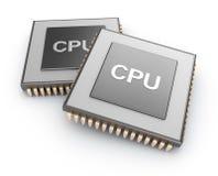 CPU-chiper över vit bakgrund Royaltyfria Bilder
