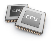 Cpu chips over white background Royalty Free Stock Images
