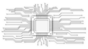CPU and circuit lines. CPU on the printed circuit board stock illustration