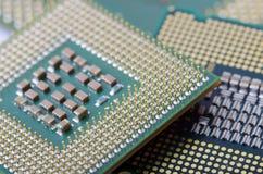 CPU  close-up. Circuit board of laptop CPU  close-up Stock Images