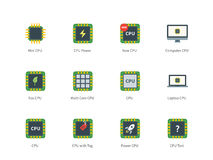 Cpu color icons on white background. Central processing unit vector color icons set. Computing and modern technology concept. Icons for electronic devices, micro Stock Photo