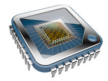 CPU Computer chip. 3d illustration  on  a white background Royalty Free Stock Image