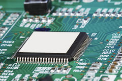 CPU computer circuit motherboard macro closeup with white ad cop Stock Image