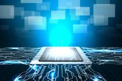 CPU computer on digital board stock illustration