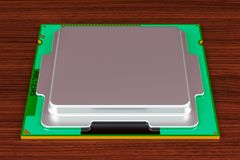 CPU computer processor unit on the wooden table. 3D rendering Royalty Free Stock Image