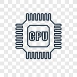 Cpu concept vector linear icon isolated on transparent background, Cpu concept transparency logo in outline style royalty free illustration