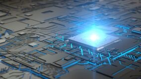 Free Cpu Concept With Glowing Abstract Lines And Light Beam On Processor. 3D Illustration Stock Photo - 182065950