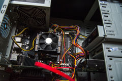 CPU cooler on the computer& x27;s motherboard. Close up view. Royalty Free Stock Photography