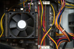 CPU cooler on the computer`s motherboard. Close up view. Stock Images