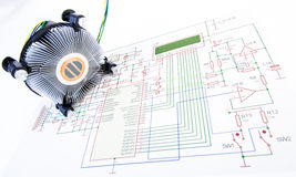 CPU cooler with electronic diagram Royalty Free Stock Image