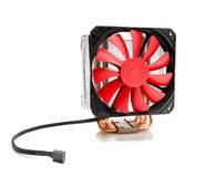 CPU cooler with fan and heat pipe Stock Images