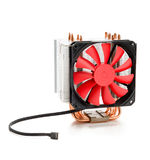CPU cooler with fan and heat pipes on white Stock Photo
