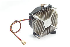 Cpu cooler with heat sink isolated on white. Background Royalty Free Stock Photo