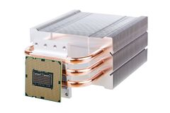 CPU and cooler with heatpipes Stock Photos