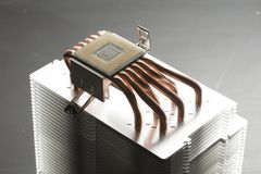 CPU cooler heatsink. With processor and heatpipes Royalty Free Stock Photography
