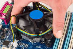 Cpu cooler installation Stock Images