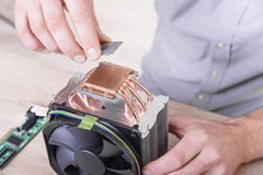 Cpu cooler installation Royalty Free Stock Images