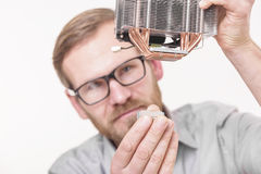 Cpu and cooler installation Royalty Free Stock Photography