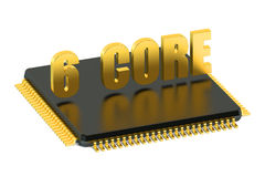 CPU 6 core chip for smatphone and tablet. Isolated on white background Stock Photos