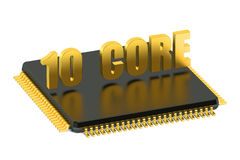 CPU 10 core chip for smatphone and tablet. Isolated on white background Stock Images