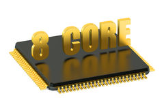 CPU 8 core chip for smatphone and tablet. Isolated on white background Royalty Free Stock Image