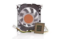 CPU and CPU Cooler isolated on white Stock Photography