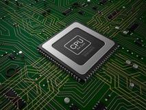 CPU de noyau de quarte sur la carte mère Images libres de droits