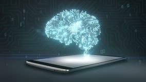 Cpu-de spaandervorm van hersenen op slimme telefoon, mobiel, slim stootkussen, kweekt kunstmatige intelligentie royalty-vrije illustratie