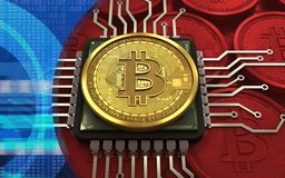 CPU del bitcoin 3d Illustrazione Vettoriale