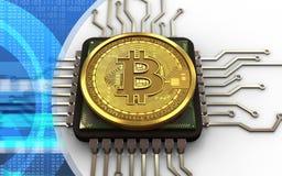CPU del bitcoin 3d Imagen de archivo libre de regalías