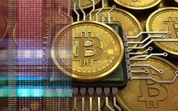 CPU del bitcoin 3d Fotos de archivo libres de regalías
