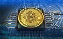 CPU del bitcoin 3d Fotografia Stock Libera da Diritti