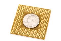 CPU del computer e dollaro fotografia stock libera da diritti