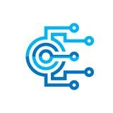 CPU dell'unità di elaborazione di Digital - vector il modello di logo per l'identità corporativa Segno astratto del chip di compu illustrazione di stock