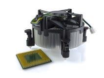 CPU e dispositivo di raffreddamento Fotografia Stock Libera da Diritti