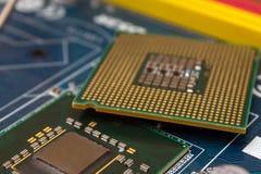 CPU en la placa madre imagen de archivo libre de regalías