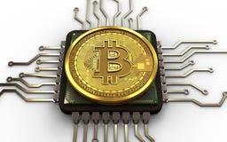 CPU för bitcoin 3d Arkivbild