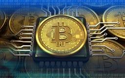 CPU för bitcoin 3d Arkivfoto