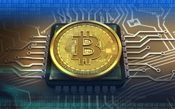 CPU för bitcoin 3d Arkivbilder