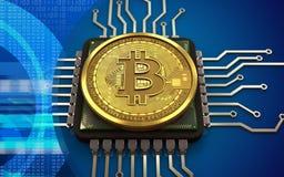 CPU för bitcoin 3d Royaltyfri Foto